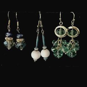 Jewelry - Price Drop! 3 pairs pretty dangle bead earrings.